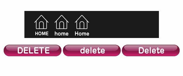 ボタンの大文字・小文字