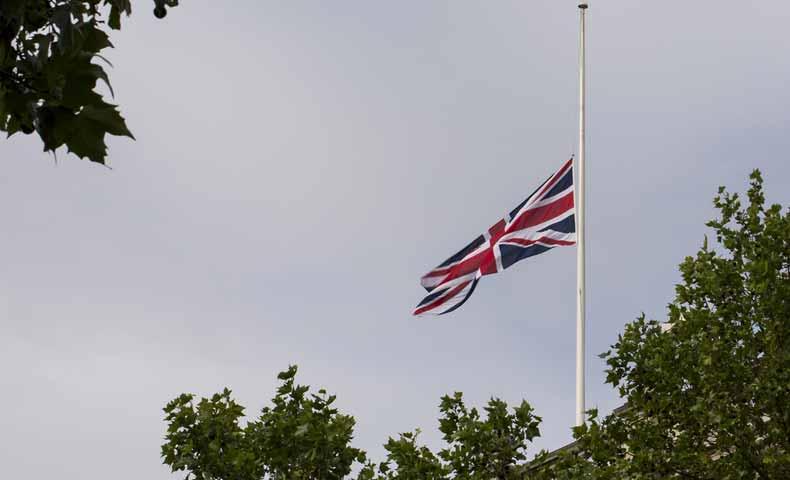 半旗、逆さまの国旗