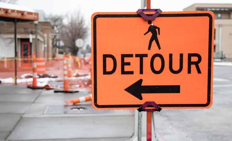 detour(迂回する、回り道)