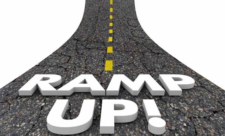ramp upとramp downの意味と使い方