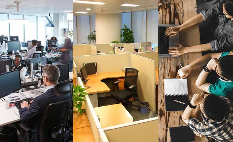 open-plan / cubicles / hot-desking